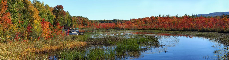 Warner Bay, Lake George, NY, Adirondack State Park, in Autumn royalty free stock photo