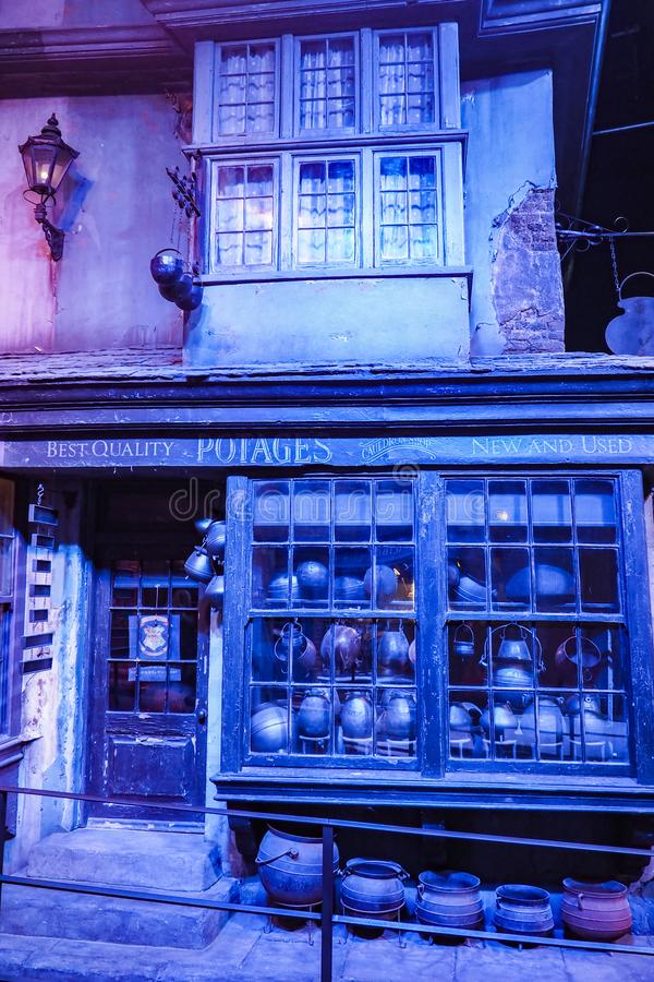 The Making of Harry Potter is a public attraction in Leavesden, London, UK which preserves and showcases the iconic props. Warner Bros. Studio Tour - The Making stock photography