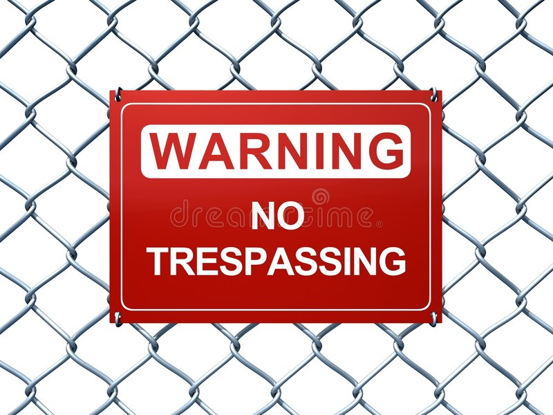 Warning. 3D rendered no trespassing sign on chainlink fence stock illustration