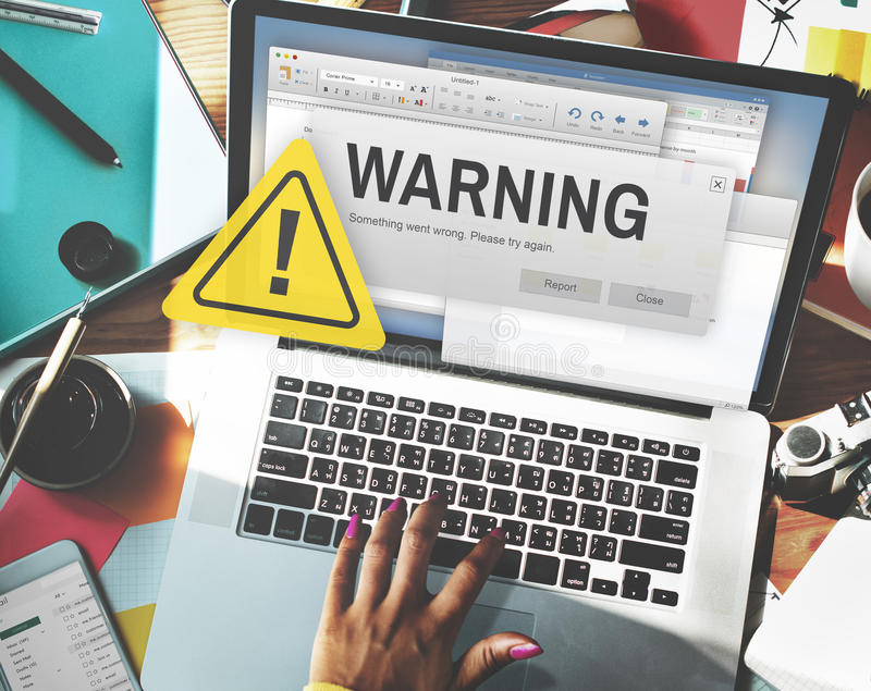 Warning Accident Caution Dangerous Help Concept. Woman Using Computer Notebook Warning Accident Caution Dangerous stock photos