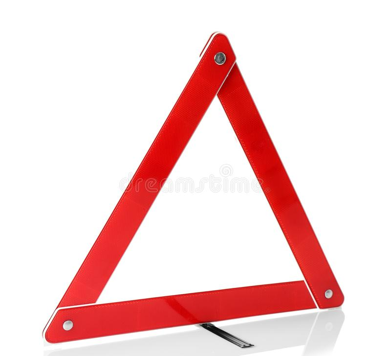 Warning accident traffic sign. Red triangle. On white royalty free stock photo