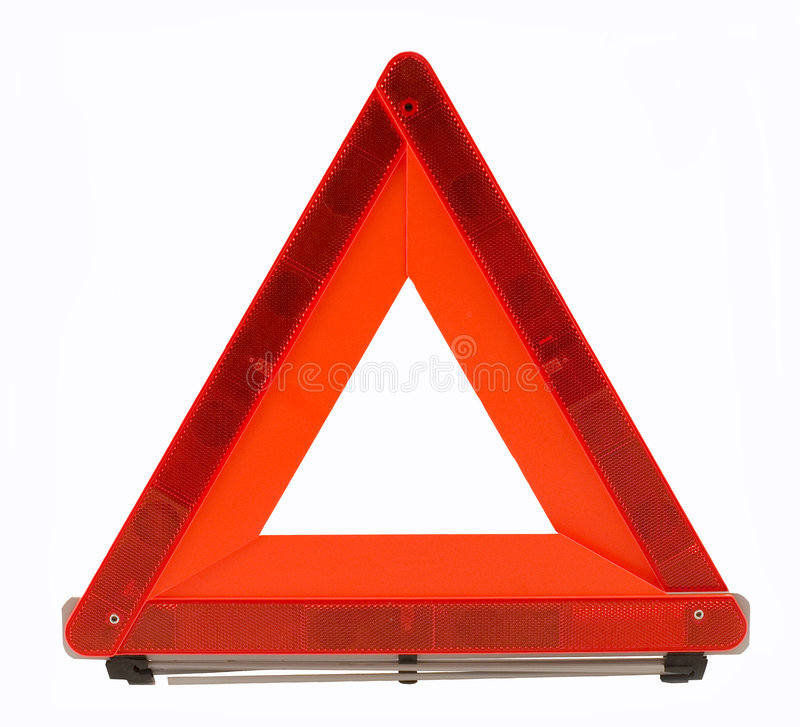 Warning accident traffic sing (red triangle) stock photo