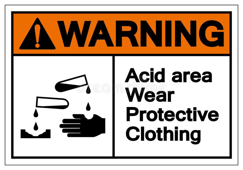 Warning Acid Area Wear Protective Clothing Symbol Sign, Vector Illustration, Isolate On White Background Label .EPS10 stock illustration