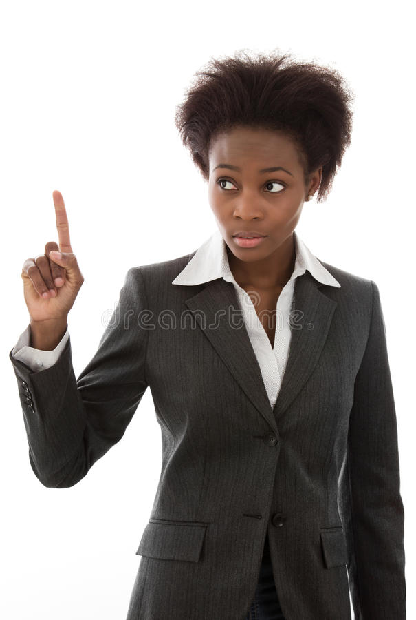 Warning: African woman in business suit raising finger isolated royalty free stock images