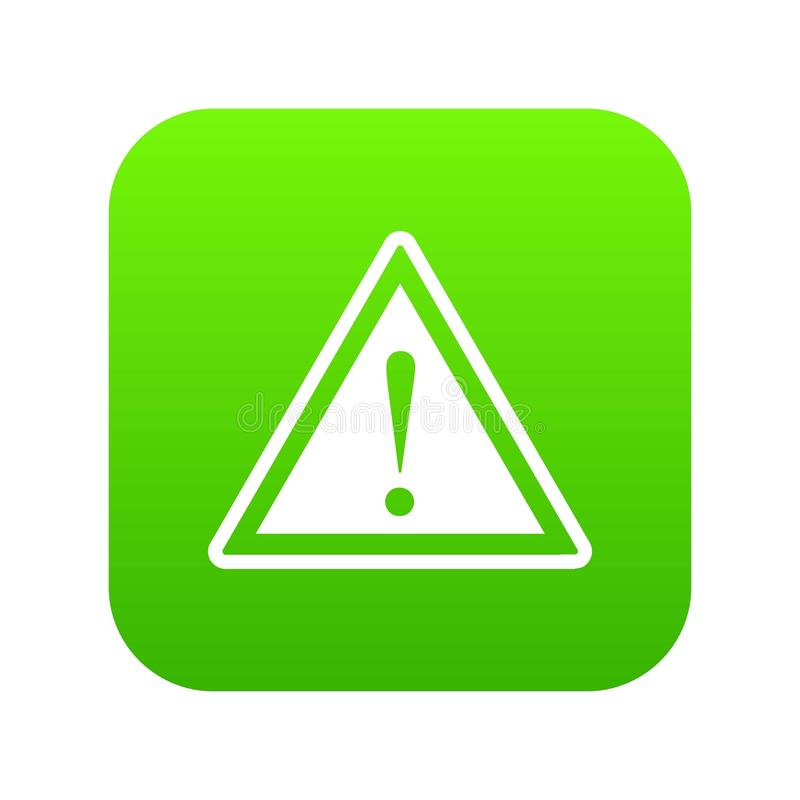 Warning attention sign with exclamation mark icon digital green stock illustration