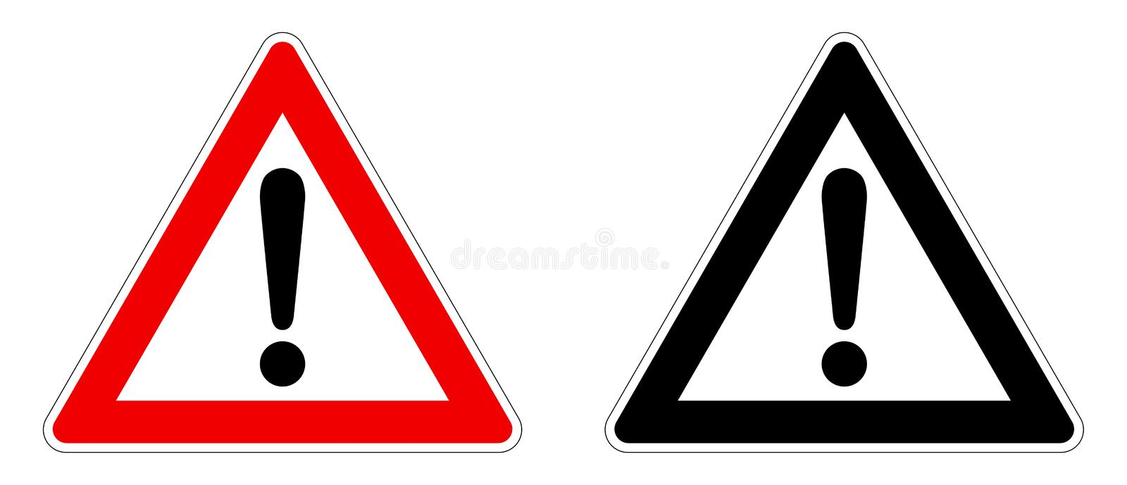 Warning / Attention sign. Exclamation mark in triangle. Red / black and white version vector illustration