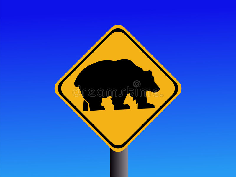 Warning bear road sign. On blue illustration vector illustration