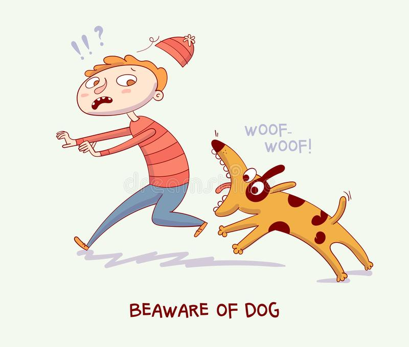 Warning! Beaware of dog. Dog bite man royalty free illustration
