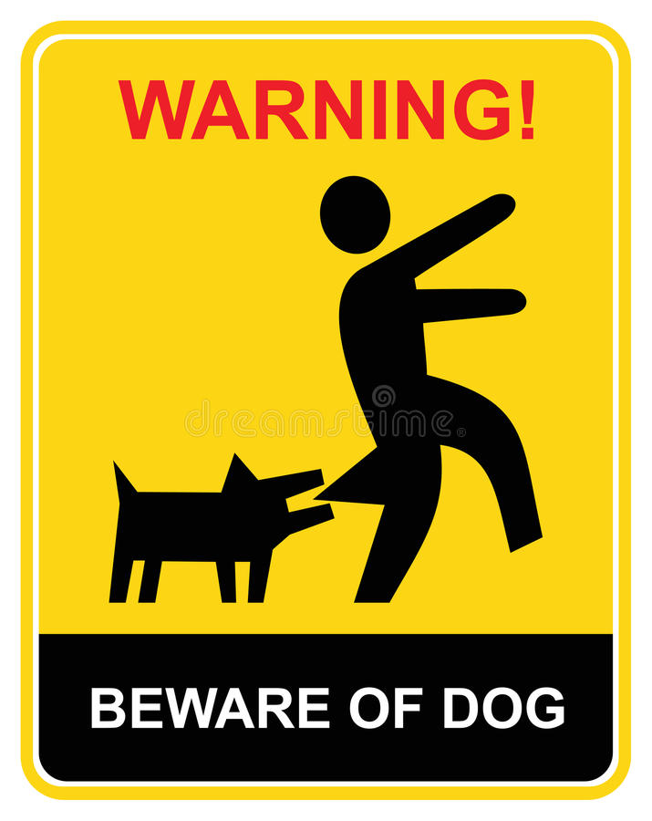 Warning - beware of dog. Beware of the mad dog - warning sign. Yellow and black vecror icon. Keep out