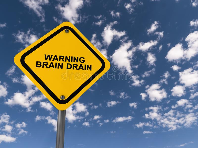 Warning brain drain traffic sign. On blue sky royalty free stock image