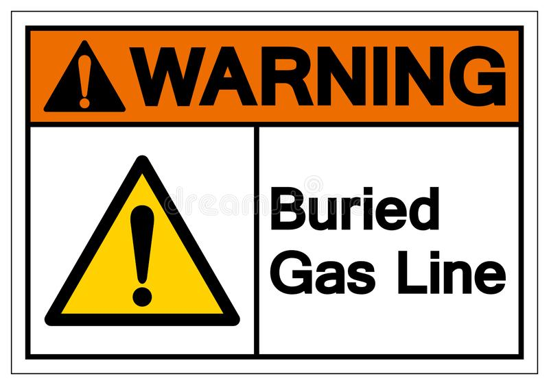Warning Buried Gas Line Symbol Sign , Vector Illustration, Isolate On White Background Label. EPS10 royalty free illustration