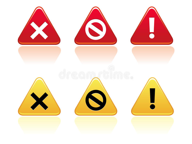 Download Warning Buttons EPS stock vector. Illustration of exclamation - 15604079