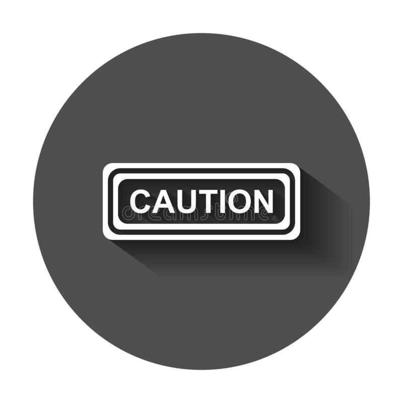 Warning, caution sign icon in flat style. Danger alarm vector il. Lustration with long shadow. Alert risk business concept stock illustration