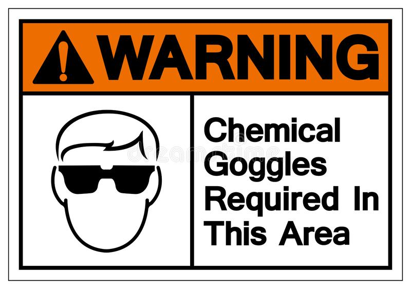 Warning Chemical Goggles Required In This Area Symbol Sign, Vector Illustration, Isolate On White Background Label. EPS10 stock illustration