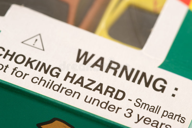 Warning: Choking Hazard stock photos