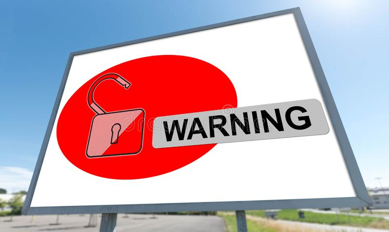 Warning concept on a billboard. Warning concept drawn on a billboard stock image