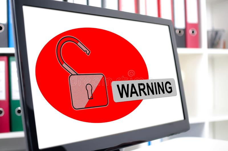 Warning concept on a computer screen. Warning concept shown on a computer screen royalty free stock photo