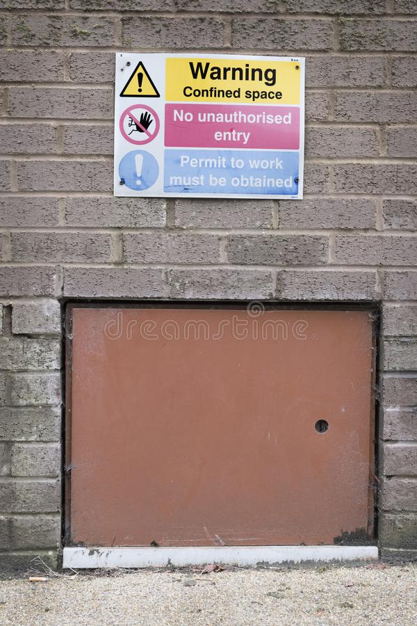 Warning Confined Space Sign No Unauthorised Entry Sign Health And Safety Construction Site Access Door stock image