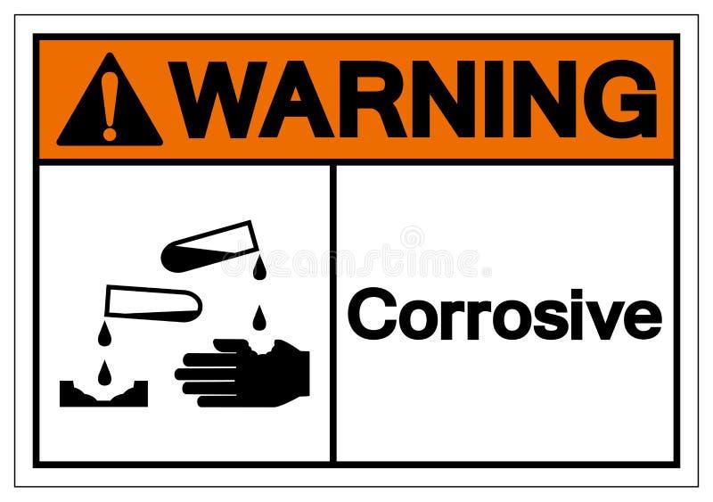 Warning Corrosive Symbol Sign, Vector Illustration, Isolated On White Background Label. EPS10 royalty free illustration