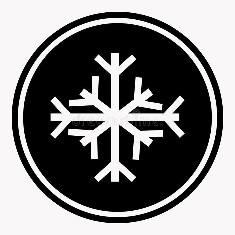 Warning And Danger Sign Of Snow Attention Symbol Black Circle Stock