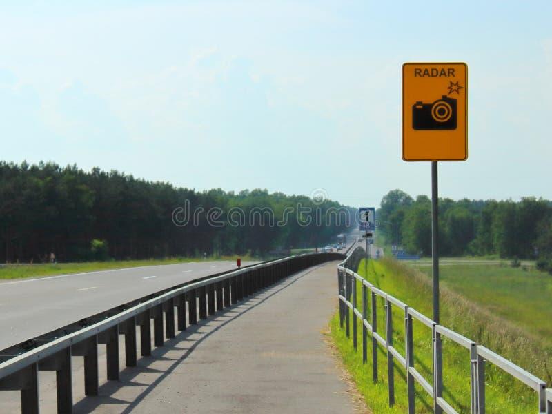 Warning drivers measuring speed stock photo