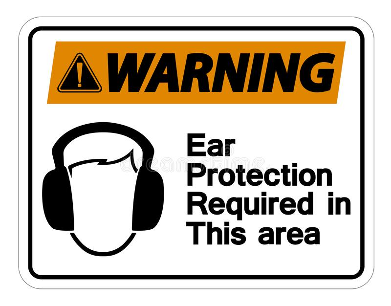 Warning Ear Protection Required In This Area Symbol Sign on white background,Vector Illustration. Alert audible construction damage danger deaf earmuffs vector illustration