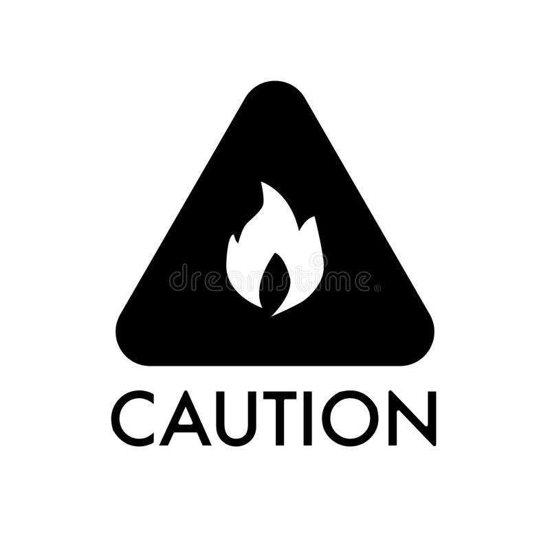 Warning flammable, cautious solid icon. vector illustration isolated on white. glyph style design, designed for web and. Warning flammable, cautious solid icon stock illustration