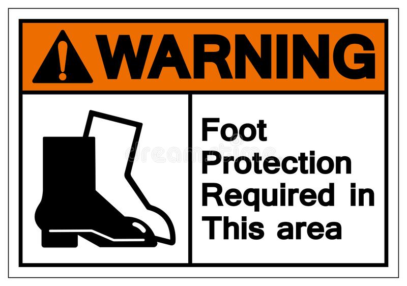Warning Foot Protection Required In This Area Symbol Sign, Vector Illustration, Isolated On White Background Label .EPS10 vector illustration