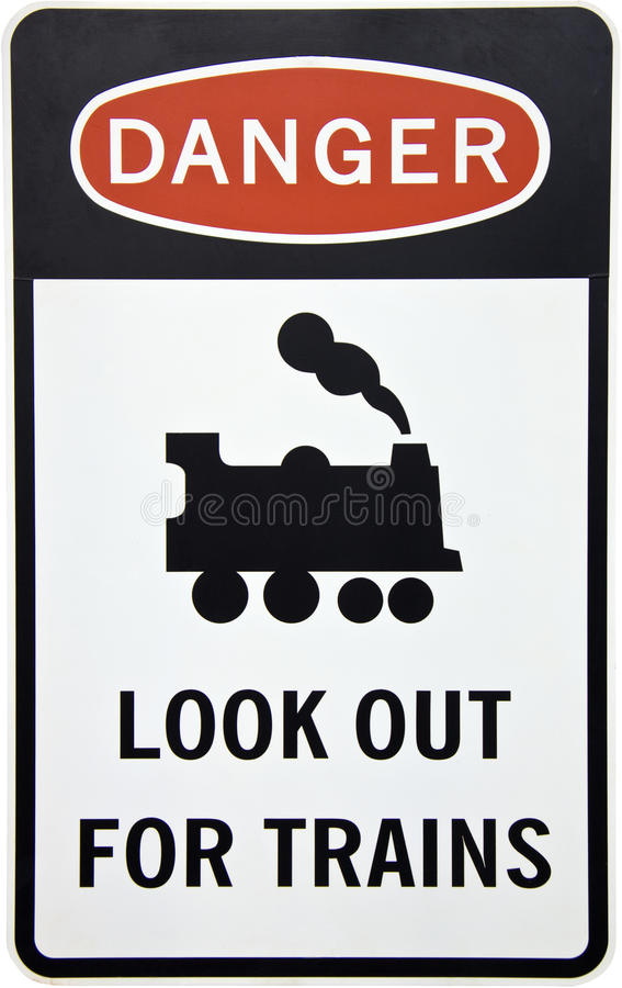 Free Warning For Trains Sign Royalty Free Stock Images - 13468109