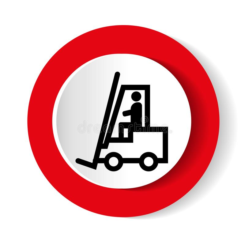 Warning Forklift trucks and other industrial vehicles sign. Vector illustration. royalty free illustration