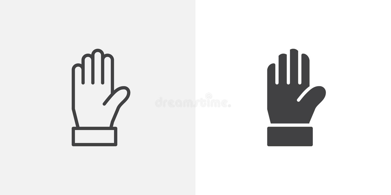 Warning hand icon. Line and glyph version, outline and filled vector sign. Stop gesture hand linear and full pictogram. Symbol, logo illustration. Different stock illustration