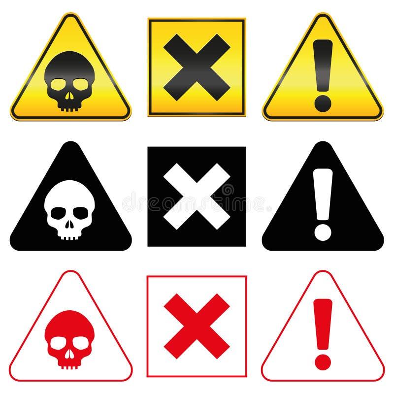 Warning Hazard Danger Symbols Stock Vector Illustration Of Danger