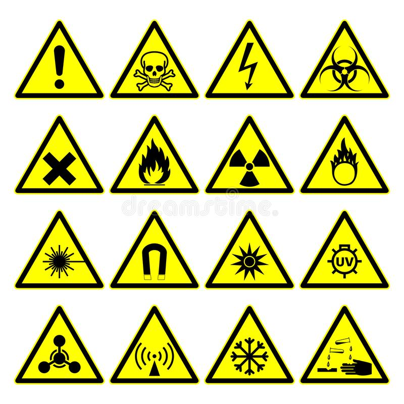 Warning hazard signs, danger symbols collection vector illustration