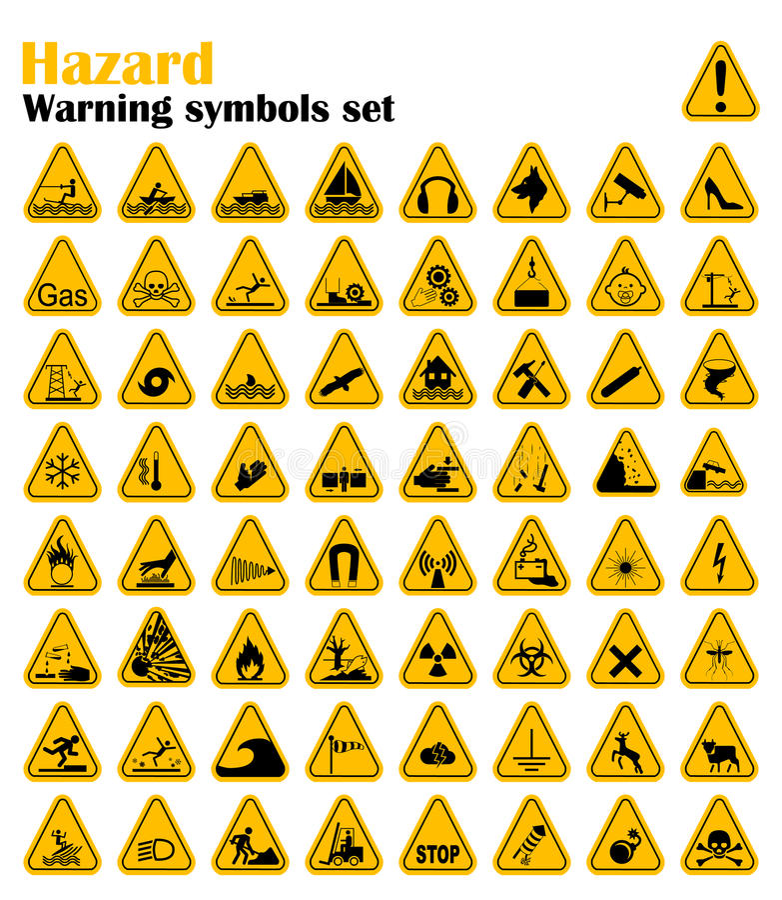 Warning Hazard Triangle Signs Set. Vector illustration. Yellow symbols on white stock photography