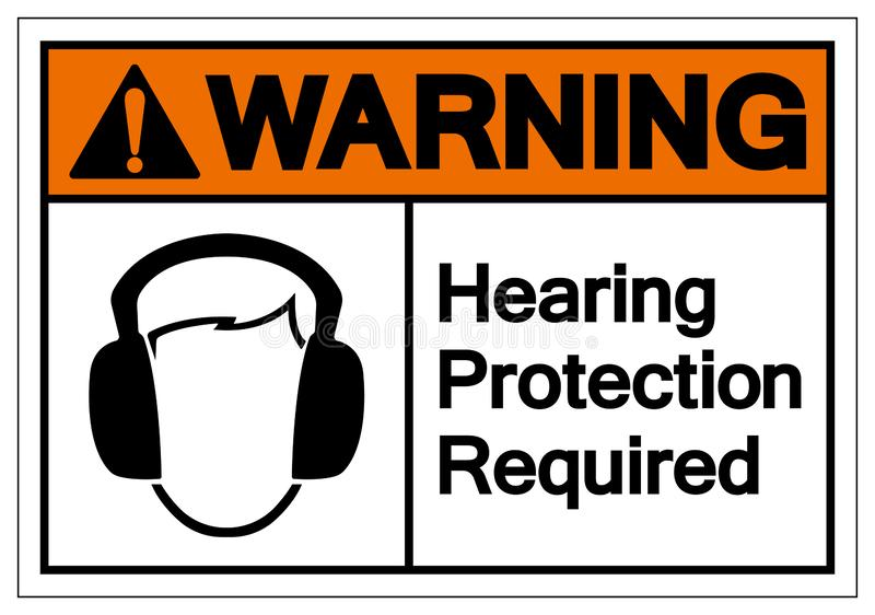 Warning Hearing Protection Required Symbol Sign, Vector Illustration, Isolate On White Background Label. EPS10 stock illustration