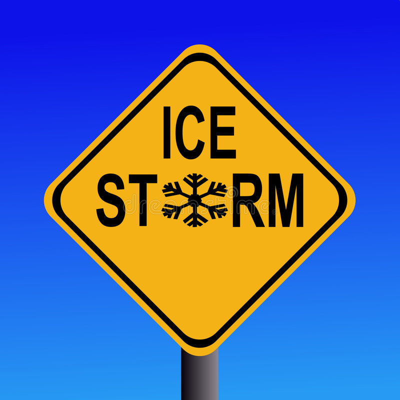 Warning Ice Storm Sign Stock Image