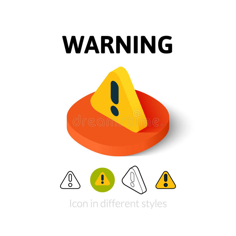 Warning icon in different style stock illustration