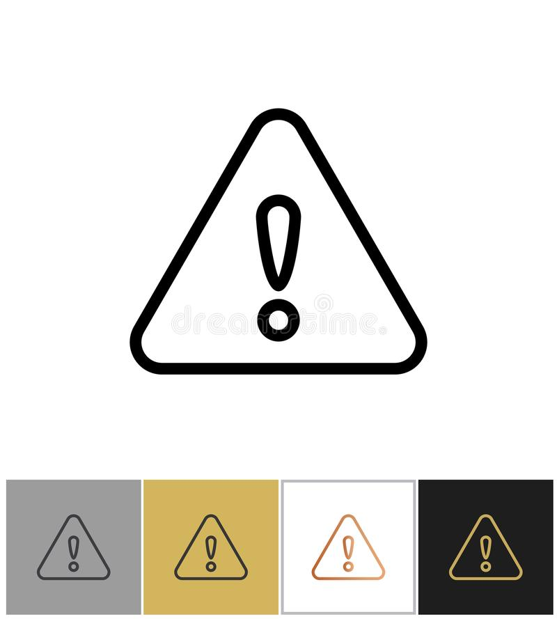 Warning icon, important problem message sign. On white and black backgrounds. Vector illustration stock illustration