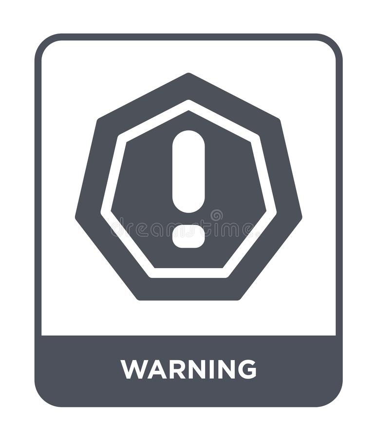 Warning icon in trendy design style. warning icon isolated on white background. warning vector icon simple and modern flat symbol. For web site, mobile, logo stock illustration