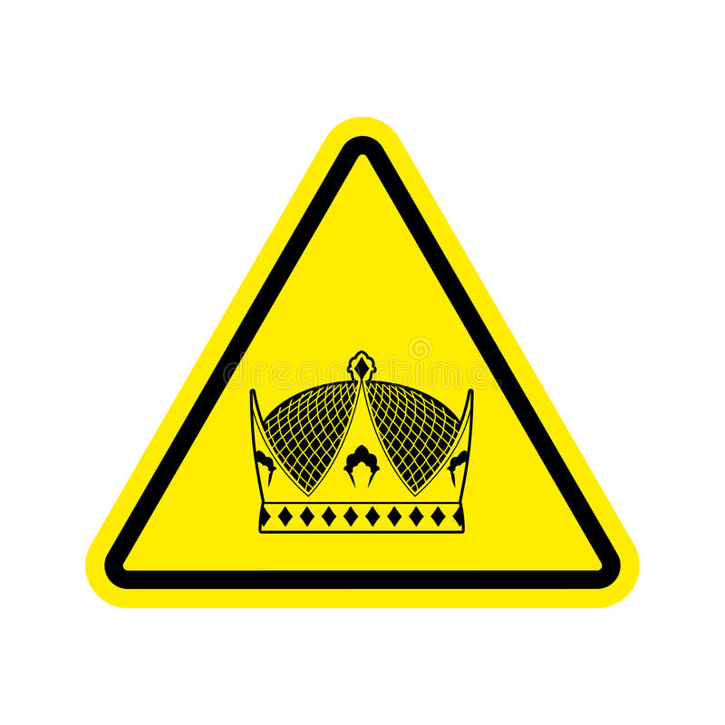 Warning king. royal Crown of yellow triangle. Road sign attention ruler royalty free illustration