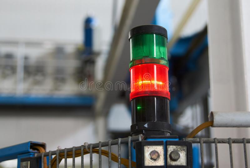 Warning light alarm for machine working. Close-up. Status lamp of the machine in factory stock photos