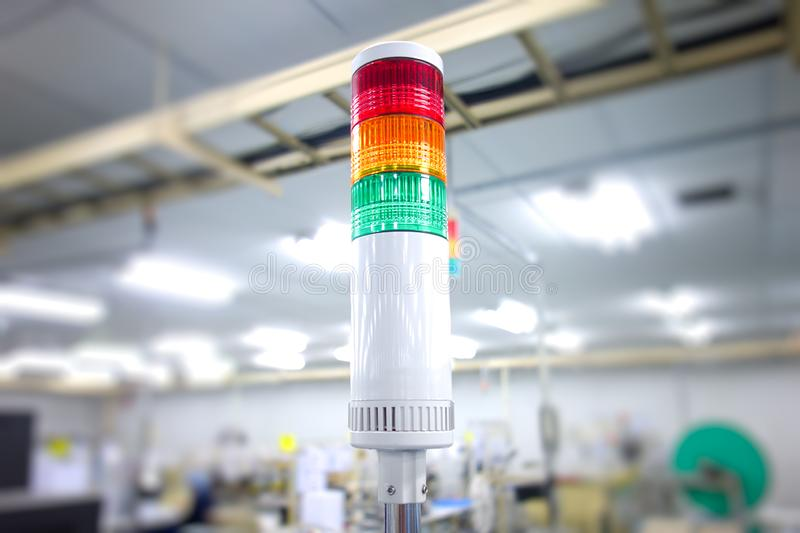 Warning light alarm. For machine working stock images