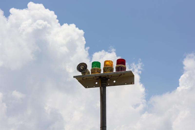 Warning light. On blue sky royalty free stock photos