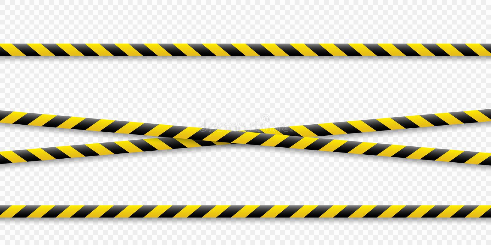 Warning lines. Caution it is dangerous to health. Warning barricade tape, yellow-black, on an isolated background. Vector. stock illustration