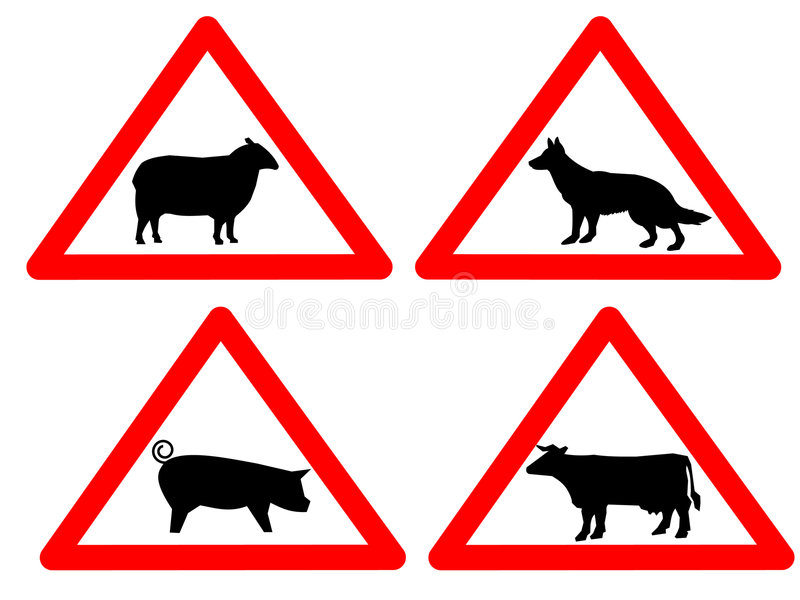 Warning Livestock Signs Royalty Free Stock Photo