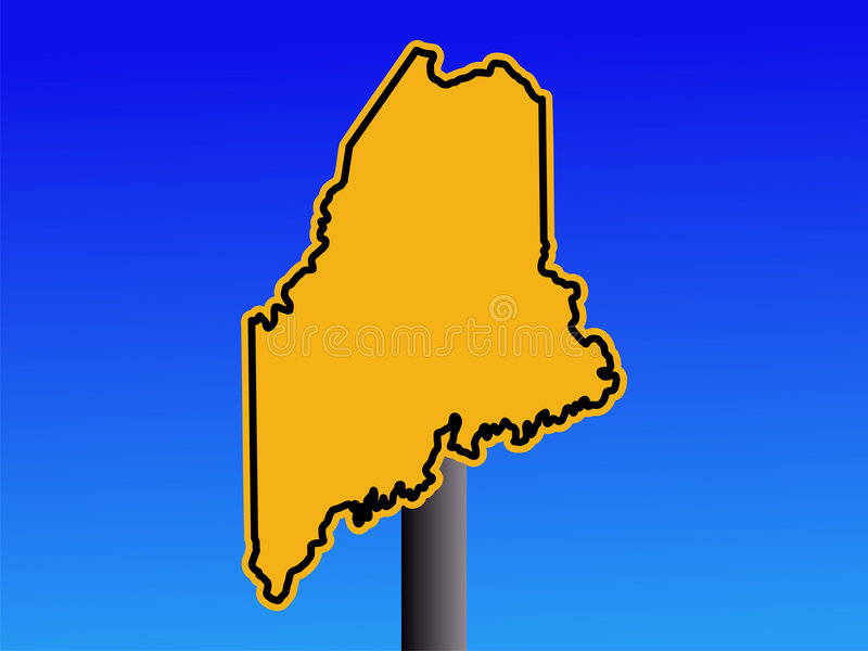Warning Maine Sign Stock Photo