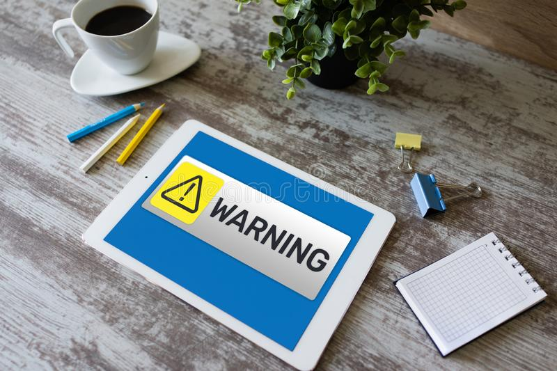 Warning message sign on screen. Virus detection security breathe hardware or software trouble. cyber security concept. Warning message sign on screen. Virus royalty free stock photo