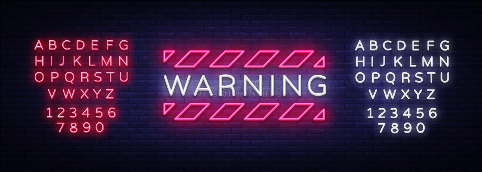 Warning Neon Text Vector. Danger Zone neon sign, design template, modern trend design, night neon signboard, night. Bright advertising, light banner, light art vector illustration