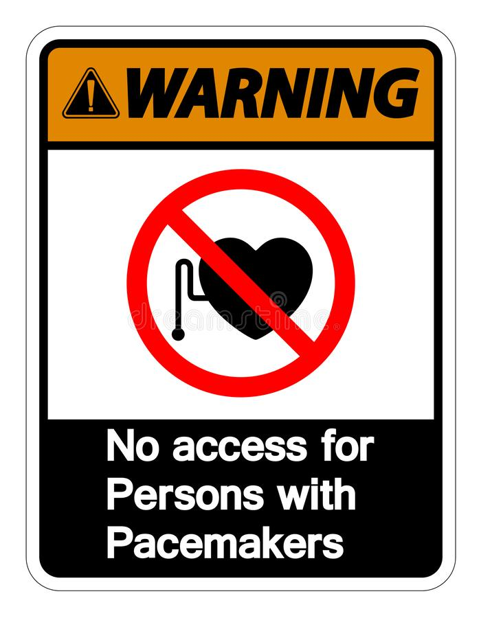 Warning No Access For Persons With Pacemaker Symbol Sign Isolate On White Background,Vector Illustration royalty free illustration