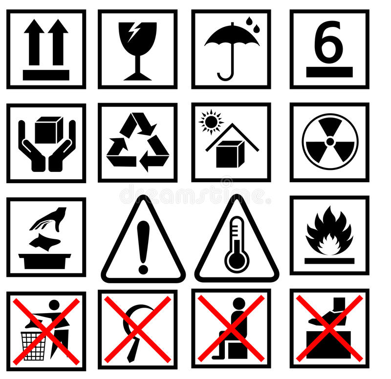 Free Warning Of Packaging Symbol Royalty Free Stock Images - 55582239